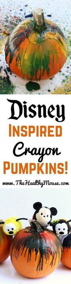 Disney Inspired Crayon pumpkins, the perfect family Halloween craft! A great way to decorate pumpkins that don't involve carving. // Disney craft // Disney Halloween // Disney pumpkin // Crayon pumpkins