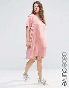 ASOS+CURVE+Satin+Front+T-Shirt+Dress