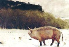 schwein und zug , 1977 von Jamie Wyeth