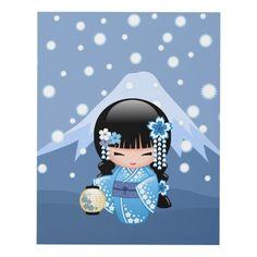 Shop Winter Kokeshi Doll - Blue Mountain Geisha Girl Panel Wall Art created by Chibibi. Chibi Kawaii, Doll Tattoo, Doll Japan, Girl Posters, Panel Wall Art, Kokeshi Dolls, Matryoshka Doll, Stretched Canvas Prints, Illustrations