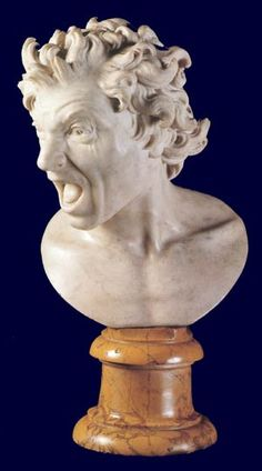 Bernini - Damned Soul (self portrait) - It's actually a self portrait sculpture of Bernini, one he made by allegedly holding his hand over an open flame to study the facial distortions of his painful screams.