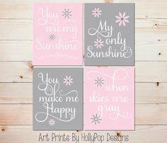 Nursery art prints Pink gray baby decor You are my sunshine