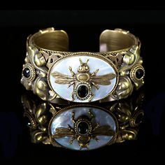 Patrice Mother of Pearl Bee Bracelet Cuff (5MI MOB) | Alexandra May