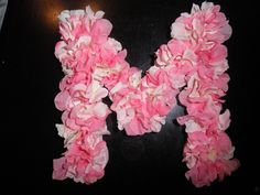 Craft store wooden letter with flower petals hot glued on!  Suuuuper cute!