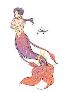 Bts Fanart namjoon Mermaid~D Bts Chibi, Namjin, Fanart Bts, Bts Drawings, Bts Fans, Mermaid Art, Rap Monster, Bts Bangtan Boy, Bts Wallpaper