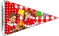Bandeirinha Kit Festa Junina Vermelho e Branco
