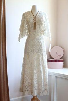 Sexy Vintage 70s Bohemian Crochet Wedding Dress ~ Vintage 1970s Wedding Dress with Bat Sleeves