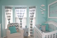 "Chevron, aqua, and gray @Melissa Squires Squires Henderson ""I remember i pined a room that i like the colors of and this is it. i want this color on my walls and my dressers a gray or white color.. and that mirror you can paint the edge of it gray or white."""