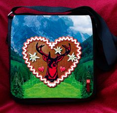 * Schicke Umhängetasche / Schultertasche: Lebkuchenherz / Hirsch-Motiv mit Edelweiss geschmückt * Mit dieser Tasche fällst Du garantiert auf. Eine