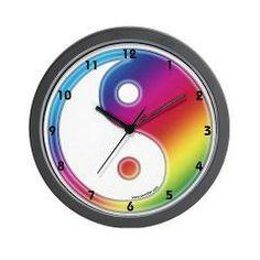 Rainbow Yin Yang Wall Clock