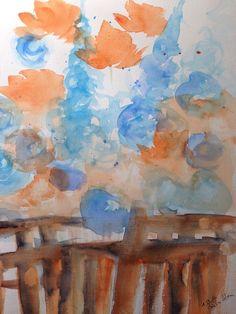 "Aquarell , "" Wiesenblumen, abstrackt  ""  30 x 40 cm , Unikat in Antiquitäten & Kunst, Malerei, Aquarelle   eBay!"