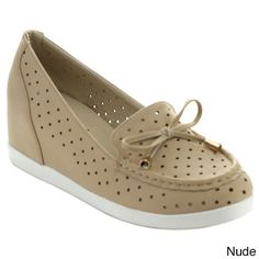 Puzzle Perry-06 Women's Chic Slip On Breathable Bow Loafers (Nude-6)