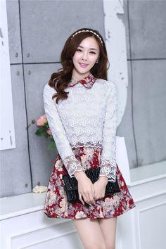 Dress korea :  ชุดเดรสสั้นแฟชั่นเกาหลี สีแดงเข้ม กระโปรงลายดอกไม้