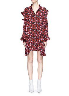 Magda Butrym 'Amman' cutout shoulder floral print silk dress