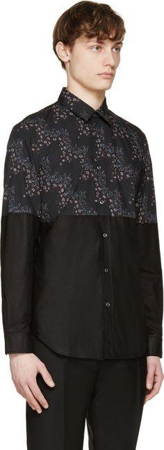 Maison Margiela Black Flower Print Colorblock Shirt