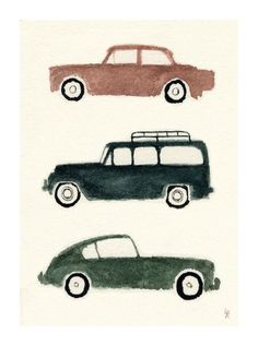 stylishly adorable vintage cars by Laurie Rollitt.  I must have Sierra create this for Cole