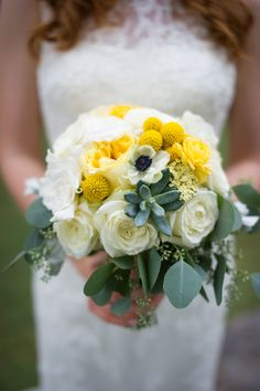 Yellow Bouquet with Succulents | Vista West Ranch On SMP: http://www.StyleMePretty.com/texas-weddings/austin/2014/02/28/rustic-yellow-vista-west-ranch/ Ajh Photography