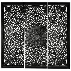 Carf mandala grey white panel L - Wandpanelen - Wanddecoratie - PTMD