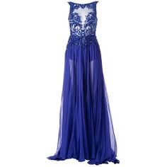 Zuhair Murad Sequin Embellished Pleated Gown (17.805 BRL) ❤ liked on Polyvore featuring dresses, gowns, long dresses, vestidos, blue, silk dress, blue evening dress, blue ball gown, blue silk dress and long sequin dress