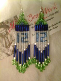 seattle seahawk 12th man native american beaded earrings shc12lb on Etsy, $16.99