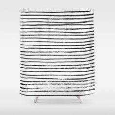 Black Brush Lines on White Shower Curtain