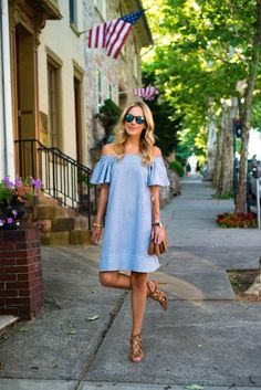 Stylish casual outfits collection to express your patriotism on the Of July. Best looks with blue, red and white colors, along with stripes and gingham. Casual Fall Outfits, Summer Outfits, Summer Dresses, Trend Fashion, Womens Fashion, Cute Dresses, Casual Dresses, Vestidos Vintage, Mode Outfits