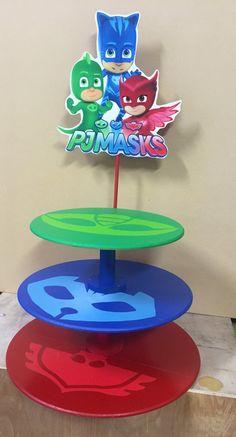 PJ mask inspired Cupcake stand gekko owlette