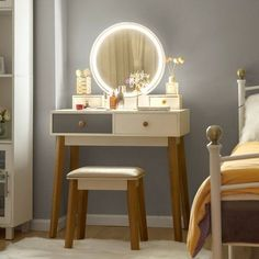 """Vanity Set With 3 Color Touch Screen Dimming Mirror, Dressing Table 4 Sliding """" Vanity Set, Vanity Table Set, Dressing Table With Chair, Makeup Dressing Table, Dressing Tables, Small Makeup Vanities, Wooden Makeup Vanity, Corner Makeup Vanity, Vanity Makeup Rooms"""