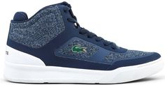 Gender: Man ᐧ - Type: Sneakers ᐧ - Upper: synthetic material, fabric ᐧ - Internal lining: fabric ᐧ - Sole: rubber ᐧ - Details: round toe. Lacoste Sneakers, White Sneakers, High Top Sneakers, Navy And White, Shoes, Self, White Tennis Shoes, Zapatos, Shoes Outlet
