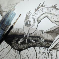 Inktober Day 24 #dragon #drawing #inktober #inktober2015 #brush #aquash