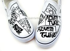 Painted Shoes Punk Style Funky Letters Doodle Canvas Shoes,Low-top Painted Canvas Shoes