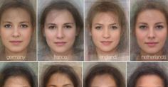 """Psychologists at the University of Glasgow in Scotland have combined the faces of men and women around to world to approximate the """"average face"""" of each country. Using a modern version of the technique that Sir Francis Galton pioneered in the 1800′s, multiple images of faces are aligned and composited together to form the final result."""