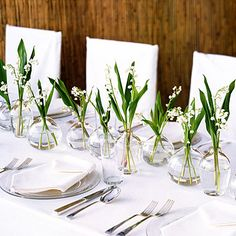 Beautiful, simple table decor with one of my favorite flowers Lily of the Valley (remind me of my Grandma Moochie ❤).