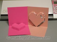 Silhouette Cameo pixilated heart pop up card tutorial