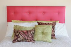 DYI Headboard ... great idea for attaching buttons