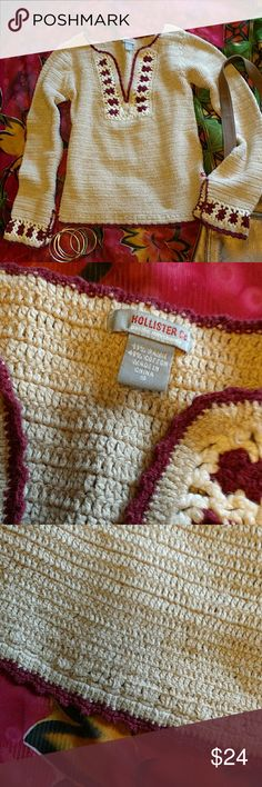 Hollister crocheted sweater size S Cute crocheted sweater in oatmeal, white and maroon. Says Small but could also fit a medium. No damage. Hollister Sweaters