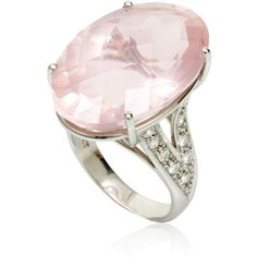 Fire and Ice Oval Rose Quartz Ring by Cherie Thum ($4,740) ❤ liked on Polyvore featuring jewelry, rings, 18 karat white gold ring, statement rings, white gold jewelry, 18k jewelry and 18 karat gold jewelry