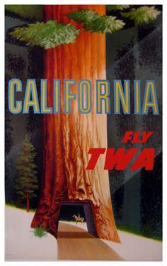 Vintage travel poster - California * TWA (1950) by David Klein