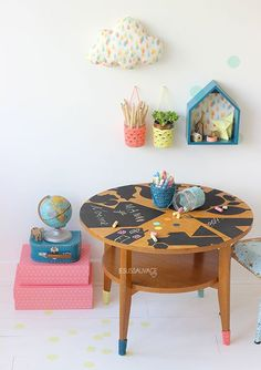 DIY blackboard print table and a lot of other inspiration!