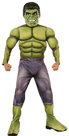 UHC Boy's Incredible Hulk Theme Party Outfit Kids Halloweem Costume - M (8-10), Green