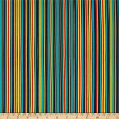 Michael Miller Play Stripe Navy from @fabricdotcom  Designed for Michael Miller Fabric, this cotton print fabric is perfect for quilting, apparel and home décor accents. Colors include teal, navy, orange, olive, red and yellow. Features vertical stripes.
