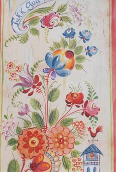 Jo's Os Cabinet Sara loves this color palette on natural wood Jan 2016 Acrylic Painting Tips, Tole Painting, Painting & Drawing, The Joy Of Painting, Rosemaling Pattern, Contemporary Decorative Art, Norwegian Rosemaling, Flower Sketches, Fashion Painting