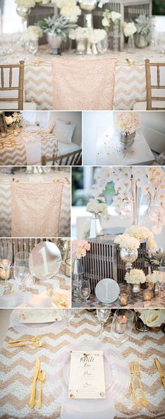 Gold, silver and cream wedding color inspiration shoot by An Affair to Remember and Kristen Weaver Photography | via junebugweddings.com