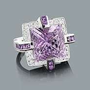 Large Amethyst Ring With Diamonds 0.84ct 18K Gold