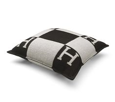 Avalon Hermes cushion in ecru/dark grey