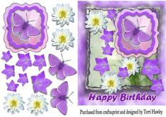 purple birthday Flowers on Craftsuprint - Add To Basket!