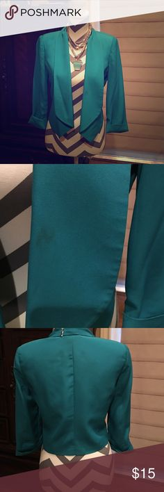 Blazer Turquoise Blazer that is too cute to pass on! This is a small spot on pic 2 as shown bebe Jackets & Coats Blazers