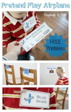 Free Pretend Play Airplane Printables. Simple way to help kids build their imagination and practice social skills. {Playdough to Plato}