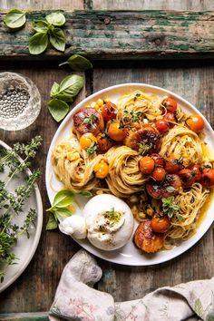 Seafood Recipes, Pasta Recipes, Cooking Recipes, Healthy Recipes, Seafood Meals, Cooking Pasta, Dinner Recipes, Scallop Pasta, Tomato Basil Pasta