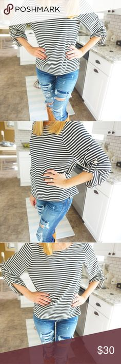 Super cute calvin klein size M striped blouse ❤ Gorgeous womens calvin klein blouse long sleeve black and white striped with silk material in size medium ❤ Calvin Klein Tops Blouses